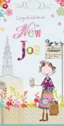 New Job Girl With Coffee Cup Card